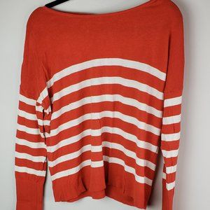 Loft XL Orange Stripped Sweater Button Back